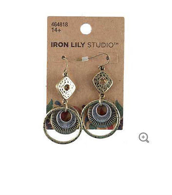 Gold & Silver Mixed Metal Textured Earrings