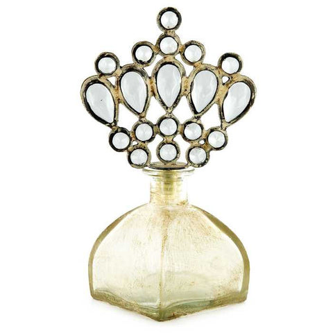 Antique White Bottle with Crown Jewel Top