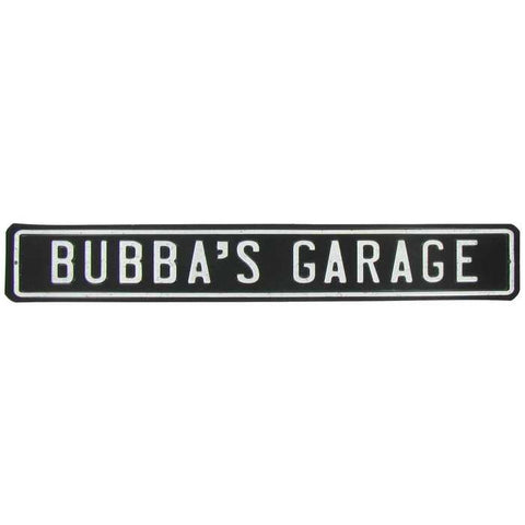 Bubba's Garage Die Cut Tin Sign