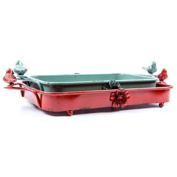 Distressed Red & Turquoise Iron Tray Set