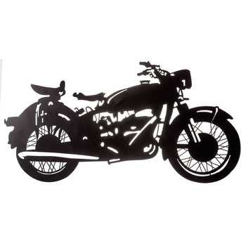 Black Metal Motorcycle Silhouette Wall Decor