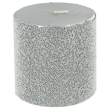 "3"" x 3"" Silver Beaded Metallic Pillar Candle"