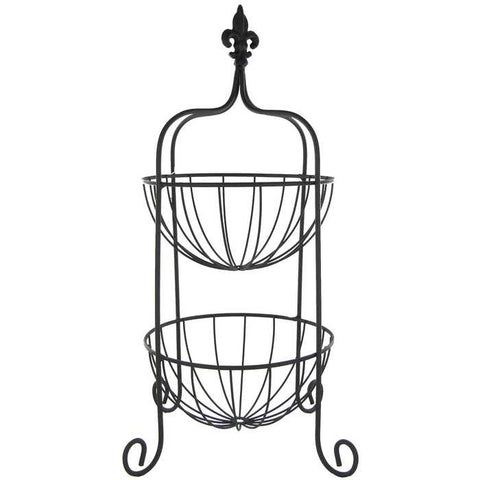 Black Two Tier Basket with Fleur-De-Lis Topper