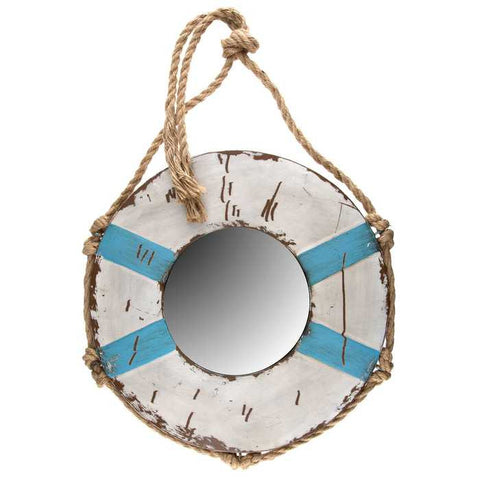 "18"" Rustic Blue & White Buoy Mirror with Rope"
