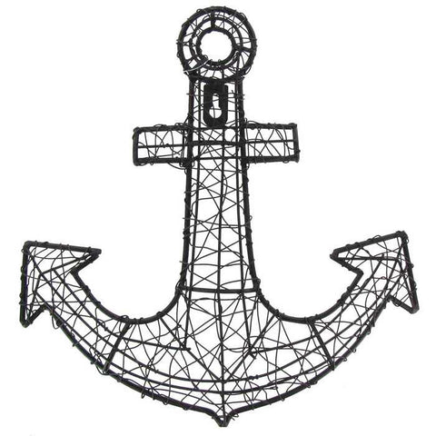 Black Mesh Anchor Iron Wall Decor