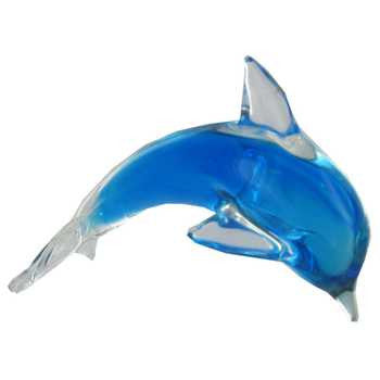 Blue Glass Dolphin with Color Inside