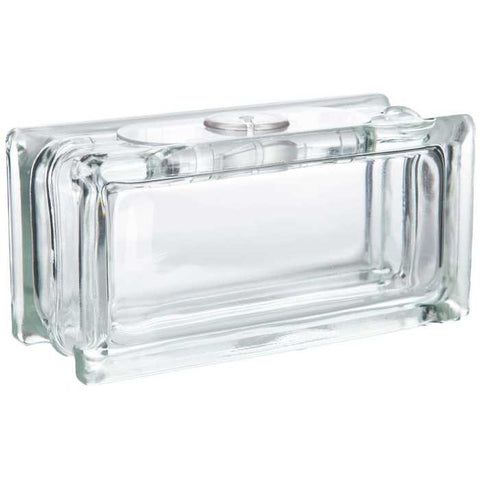 "4"" x 8"" Deco Blok Glass Block with Hole"
