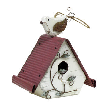 Wood Birdhouse with Bird On Top