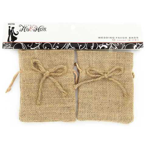 "4"" x 5"" Burlap Wedding Favor Bags"
