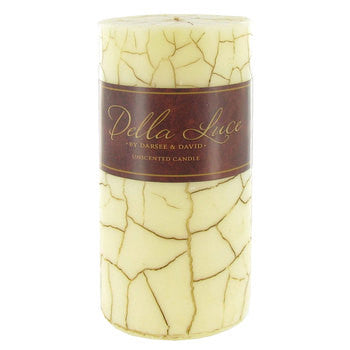 "3"" x 6"" Ivory Cracked Pillar Candle"
