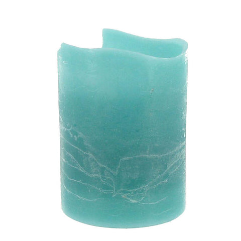 "3"" x 4"" Teal Ocean Breeze Flameless Distressed LED Pillar Candle"