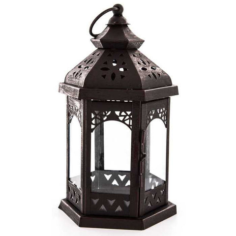 Black Hexagonal Metal & Glass Lantern with Cutouts