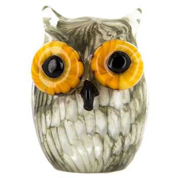 Cream & Black Glass Owl with Yellow Eyes