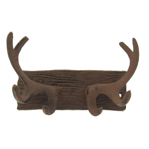 Cast Iron Antler Wall Plaque with Hooks