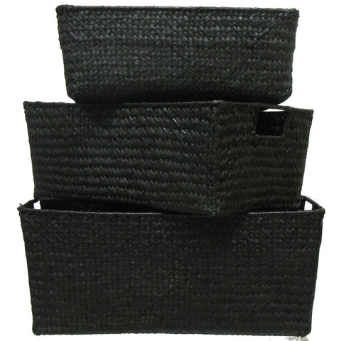 Black Rectangle Seagrass Basket Set
