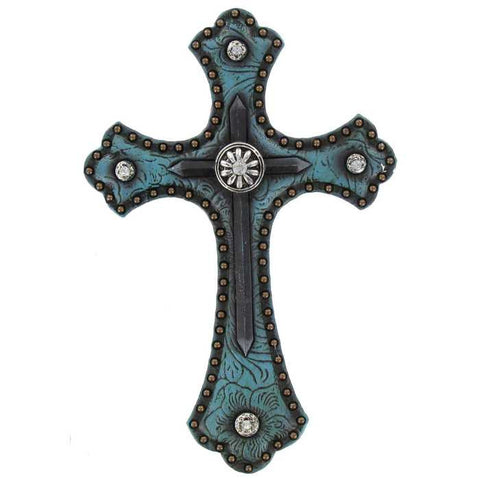 "5"" x 8"" Turquoise Polyresin Western Cross"