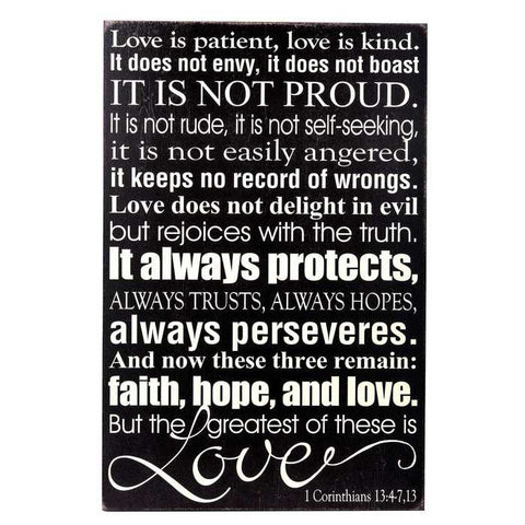 Black & Cream Love is Patient Wall Plaque
