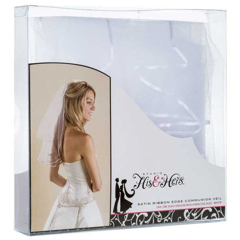 "1/8"" White Satin Ribbon Communion Edge Veil"