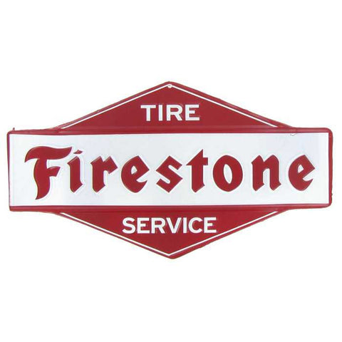 Firestone Tire Service Embossed Die Cut Tin Sign