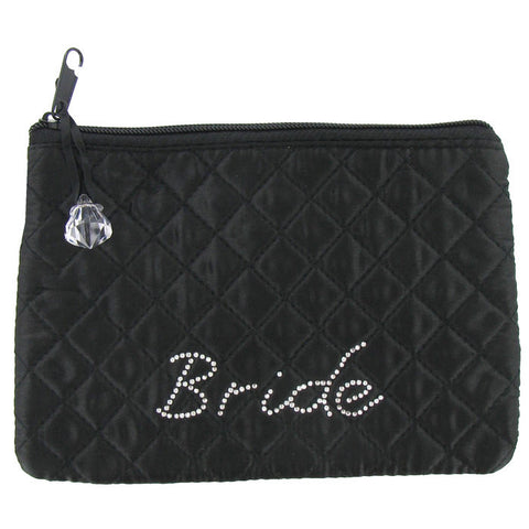 Black & Rhinestone Bride Cosmetic Bag