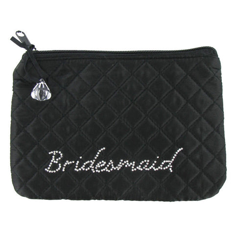Black & Rhinestone Bridesmaid Cosmetic Bag
