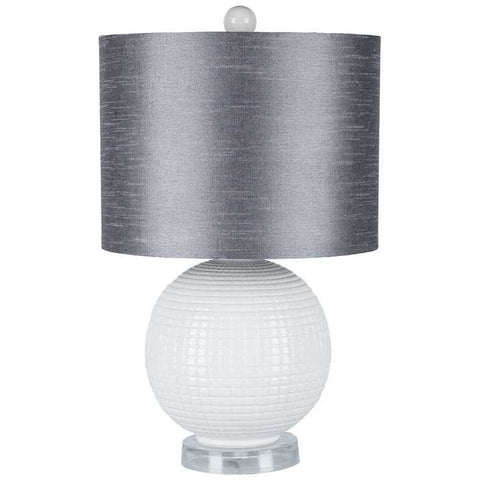 "20"" White Ceramic Ball Lamp with Gray Shade"