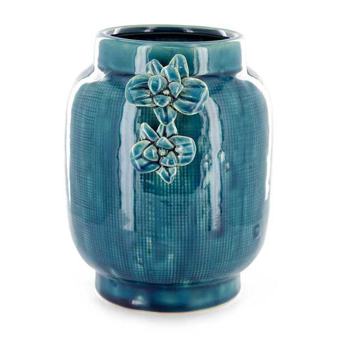 Turquoise Rough Textured Vase with Orchid Detail