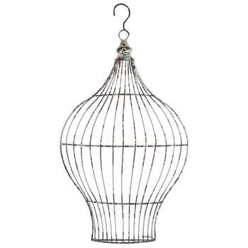 Distressed White Bird Cage Metal Wall Decor