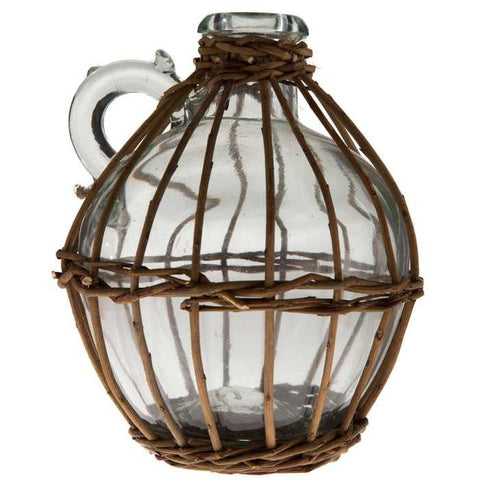 "7 1/4"" Tall Clear Glass Willow-Wrapped Jug"