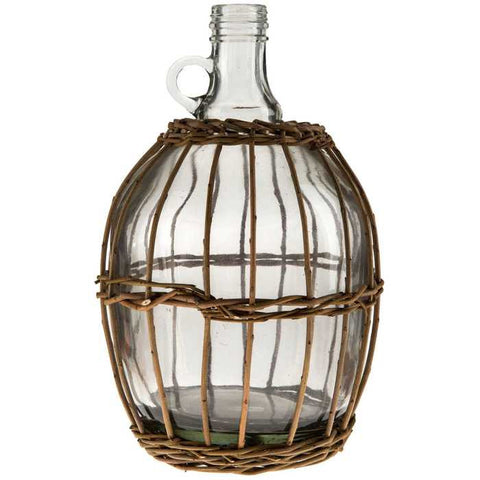 "11 1/4"" Tall Clear Glass Willow-Wrapped Jug"