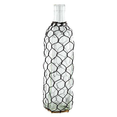 "10"" Tall Square Glass Bottle with Chicken Wire"