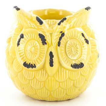 Yellow Ceramic Owl Candle Holder