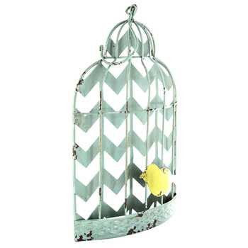 Turquoise Distressed Chevron Bird Cage Wall Decor