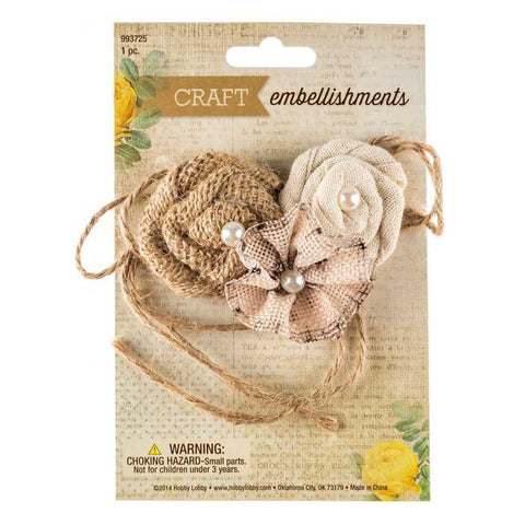 Burlap Flower Cluster with Acrylic Pearls