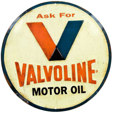 Valvoline Embossed Tin Sign