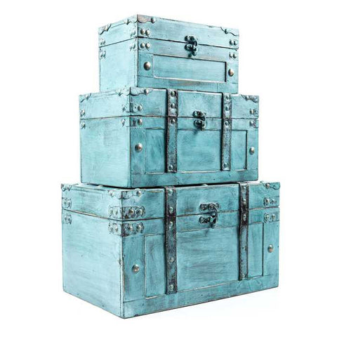 Antique Turquoise Storage Trunk Box Set
