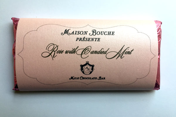 Rose with Candied Mint Leaves Chocolate Bar