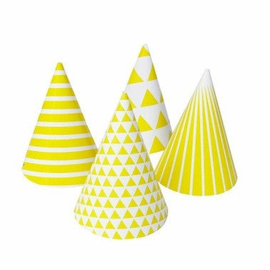 Yellow Patterned Party Hats