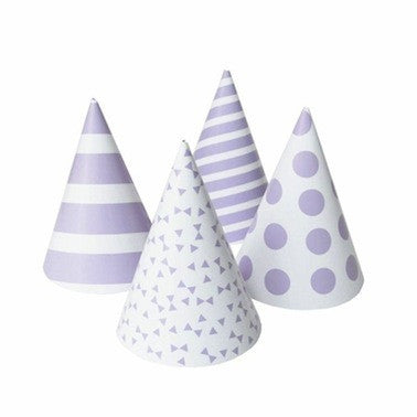 Lavender Patterned Party Hats