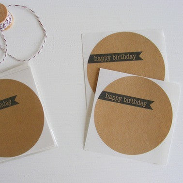Kraft Large Circle Stickers- Happy Birthday