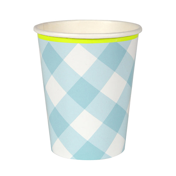 Blue Gingham Cups