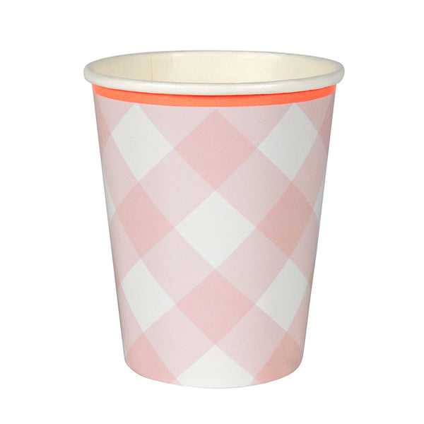 Pink Gingham Cups