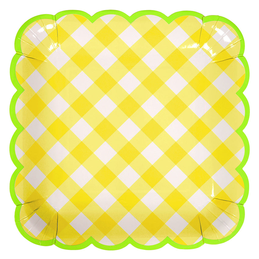 Yellow Gingham Plates