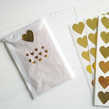 Gold Hearts Glassine Treat Bags