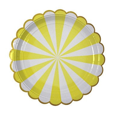Toot Sweet Yellow Stripe Paper Plates