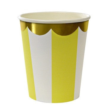 Toot Sweet Yellow Stripe Paper Cups