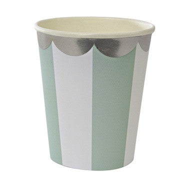 Mint Stripe Paper Cups