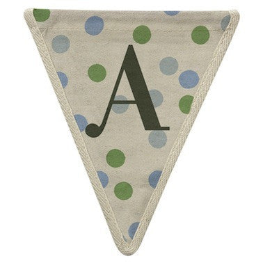 Letter A - polka dots blue & green