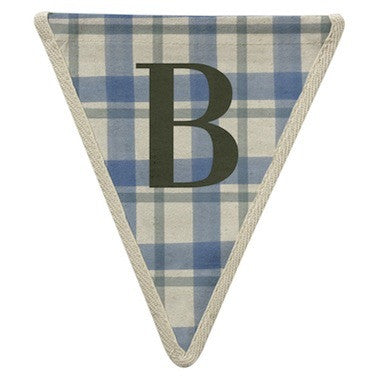 Letter B - plaid pattern blue