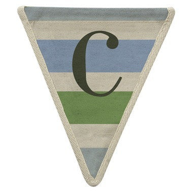Letter C - horizontal stripe blue & green